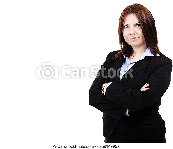 portrait of a business woman on white background - csp9149957