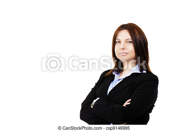 portrait of a business woman on white background - csp9146995