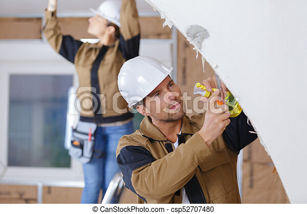 portrait of a construction worker on site - csp52707480