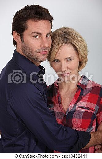 Portrait of a couple hugging - csp10482441