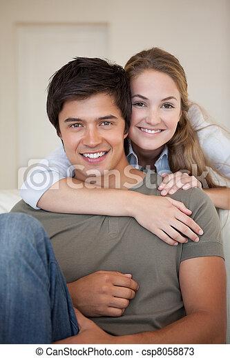 Portrait of a couple hugging - csp8058873