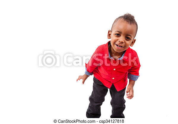 Portrait of a cute african american little boy smiling, isolated on white background - csp34127818