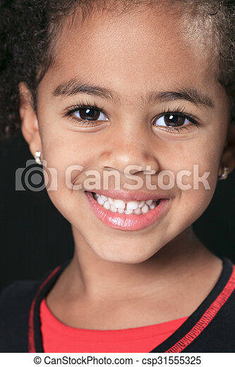 Portrait of a cute african american little boy, isolated on blac - csp31555325
