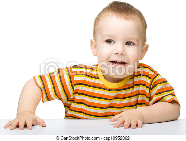 Portrait of a cute and cheerful little boy - csp10952362