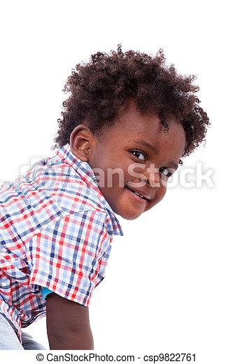 Portrait of a cute black baby boy - csp9822761