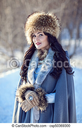 portrait of a girl in winter - csp50369300