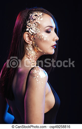 Portrait of a girl on a black background - csp49258816