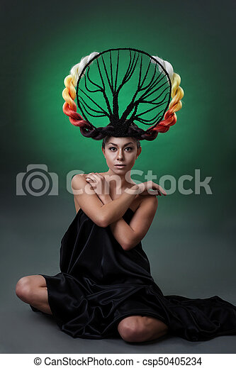 Portrait of a girl with a hairdressing tree - csp50405234