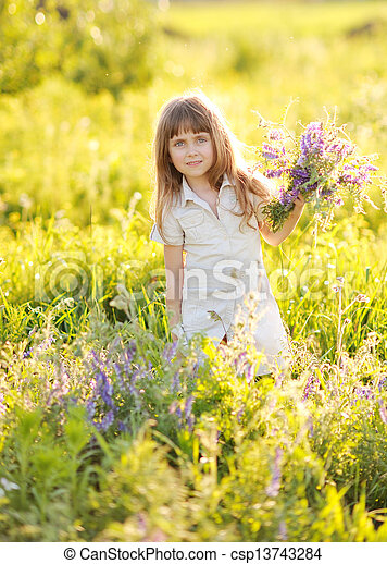 portrait of a girl with flowers - csp13743284