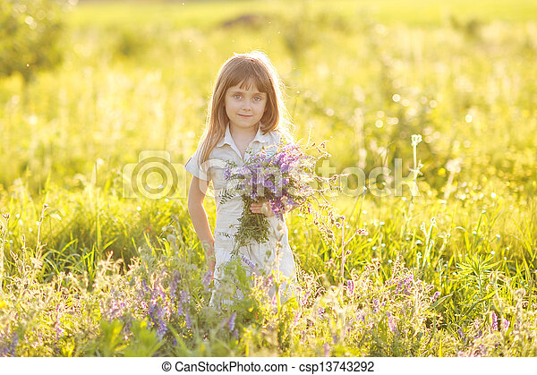 portrait of a girl with flowers - csp13743292