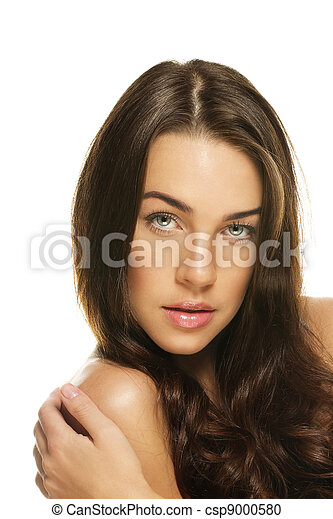 portrait of a gorgeous woman on white background - csp9000580