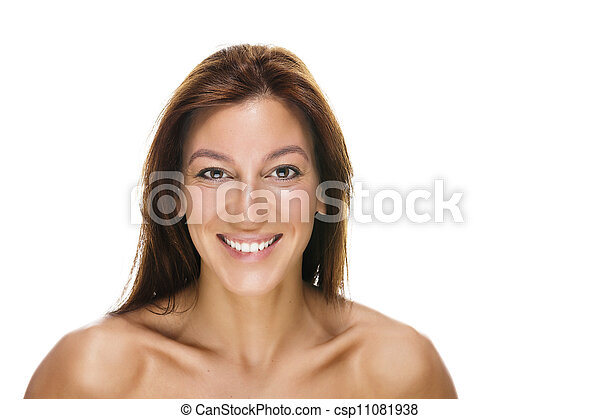 portrait of a happy beautiful woman on white background - csp11081938