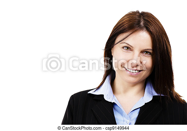 portrait of a happy business woman on white background - csp9149944