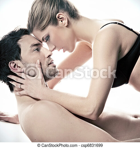 Portrait of a happy married in the intimate scene  - csp6831699