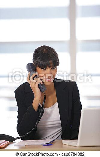 Portrait of a happy secretary - csp8784382