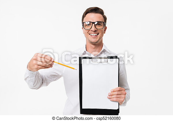 Portrait of a happy smart guy in white shirt - csp52160080