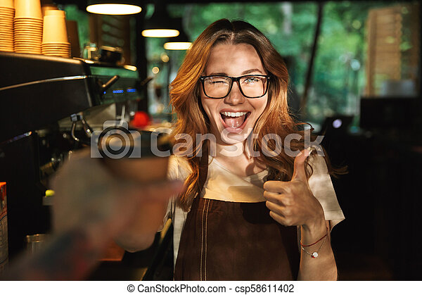 Portrait Cup Barista Of Giving Customer A Table The Behind To Apron Happy And Coffee Standing In Young Girl Bar