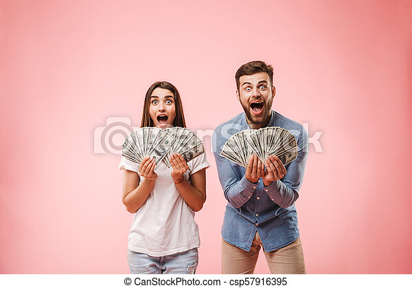 Portrait of a happy young couple - csp57916395