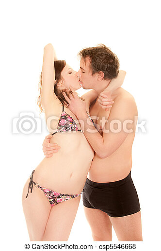 Portrait of a kissing young couple - csp5546668