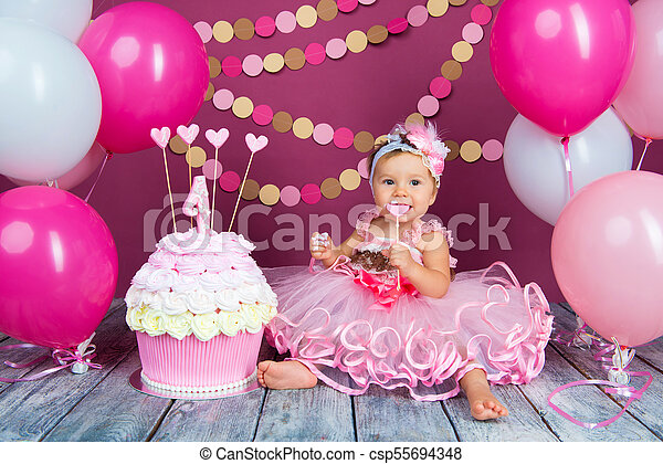 Pleasing Portrait Of A Little Cheerful Birthday Girl With The First Cake Personalised Birthday Cards Beptaeletsinfo