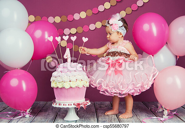 Awesome Portrait Of A Little Cheerful Birthday Girl With The First Cake Personalised Birthday Cards Beptaeletsinfo