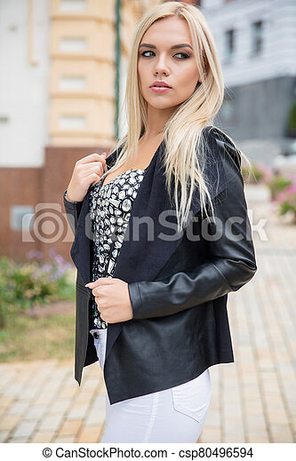 Portrait of a lovely blonde - csp80496594