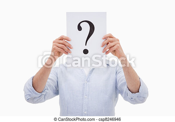 Portrait of a man hiding his face behind a question mark - csp8246946