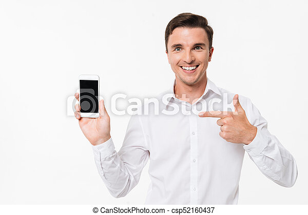Portrait of a man in a white shirt pointing finger - csp52160437