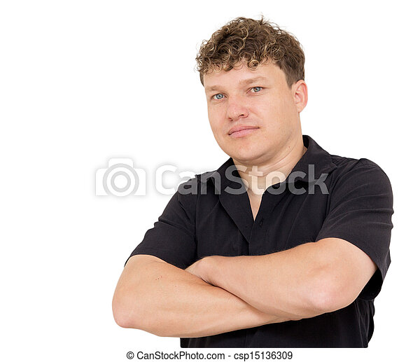 portrait of a man on a white background - csp15136309