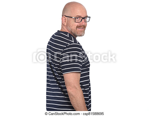 portrait of a man on white background - csp81588695