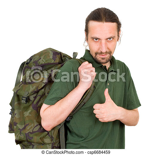 portrait of a man with backpack - csp6684459