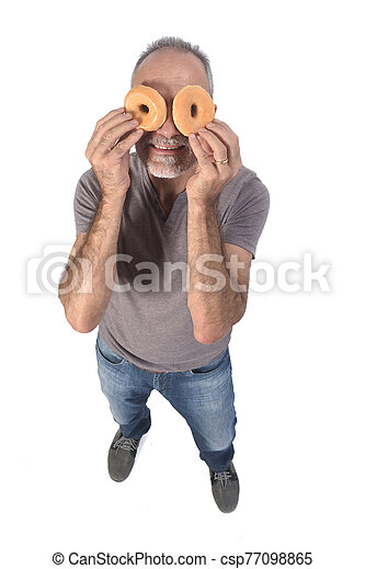 portrait of a man with donut on white background - csp77098865