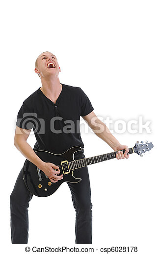 Portrait of a man with guitar - csp6028178