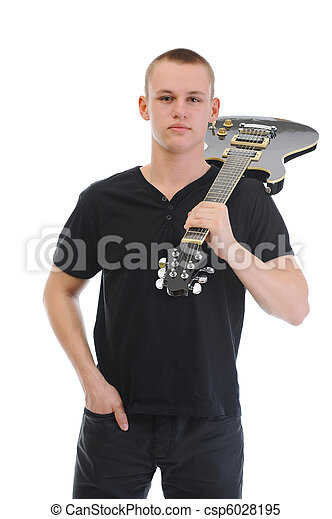 Portrait of a man with guitar - csp6028195