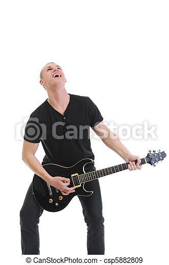 Portrait of a man with guitar - csp5882809