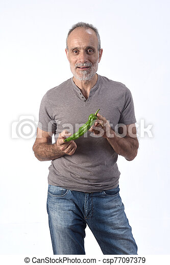 portrait of a man with pepper on white background - csp77097379