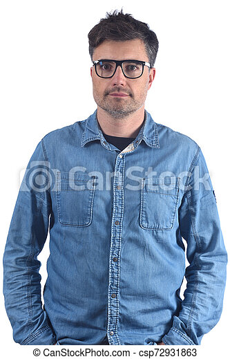 portrait of a man with white background - csp72931863