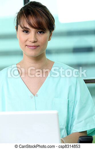 Portrait of a medical receptionist - csp8314853