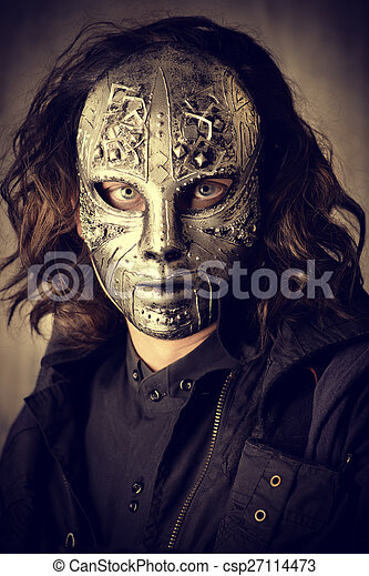 portrait of a mysterious man in iron mask steampunk fantasy halloween