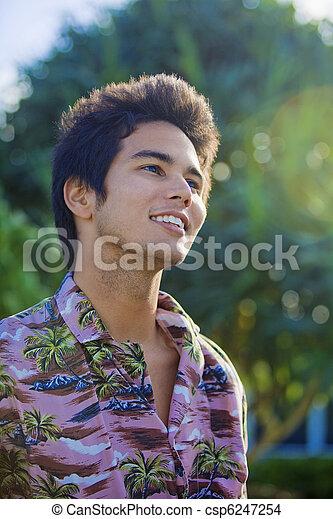 portrait of a pacific island man - csp6247254