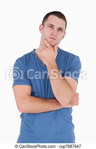 Portrait of a pensive young man - csp7687647