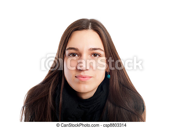 portrait of a pretty brunet young woman with brown hair looking at camera isolated on white - csp8803314
