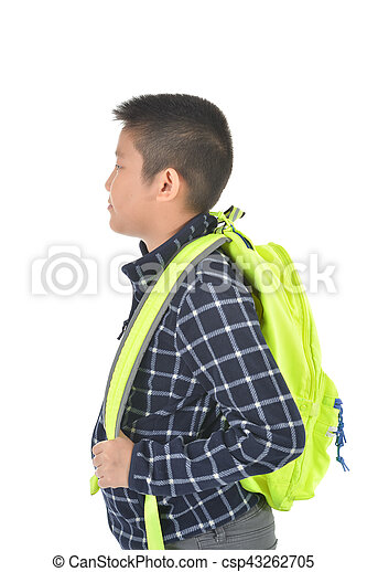 Portrait of a schoolboy with backpack, isolated on white background - csp43262705