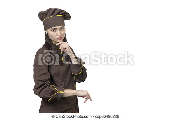 portrait of a serious woman cook - csp66490228