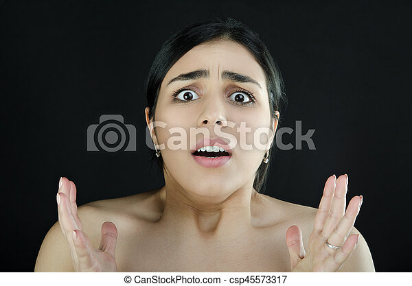 Portrait of a shocked woman - csp45573317
