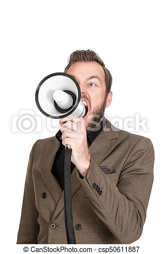 Portrait of a shouting businessman with megaphone - csp50611887