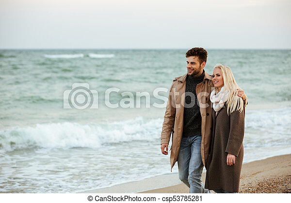 Portrait of a smiling couple in love hugging - csp53785281