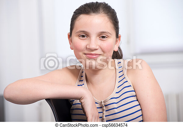 portrait of a smiling teenage girl - csp56634574