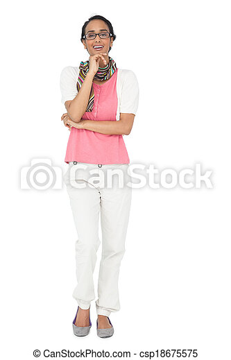 Portrait of a smiling young woman - csp18675575