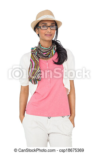 Portrait of a smiling young woman - csp18675369